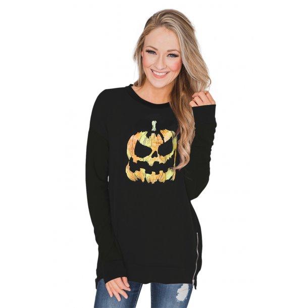 Halloween Theme Pumpkin Pattern Zipped Sweatshirt
