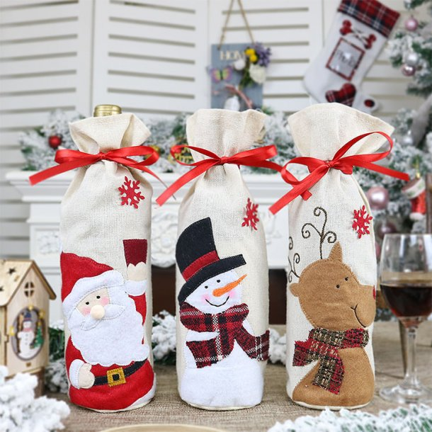 Santa Claus Red Wine Bag Christmas Eve Dinner Party Decorative