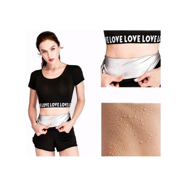 Comfortably Black Large Size Sauna Sweat Belt Nano Silver