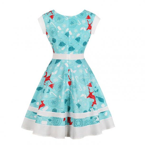 Round Neck Christmas Reindeer Print Lacing-up Short Sleeves High Waist Swing Dress