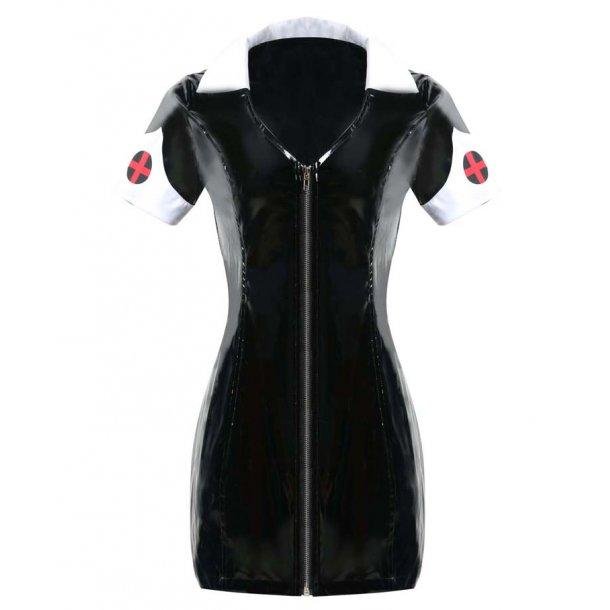 Sexy Black PVC Nurse Costume