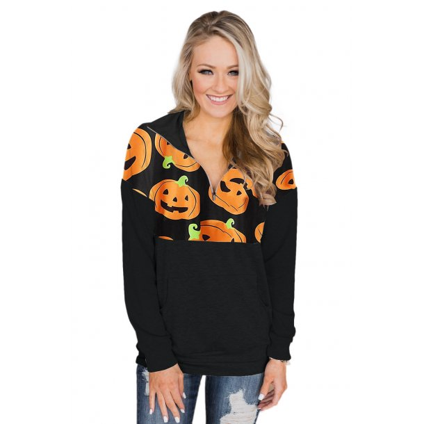 Halloween Pumpkin Pullover Long Sleeve Sweatshirt