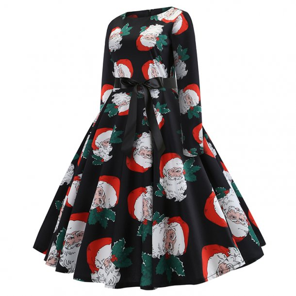 Santa Claus Pattern Long Sleeves Round Neckline High Waist Christmas Midi Dress