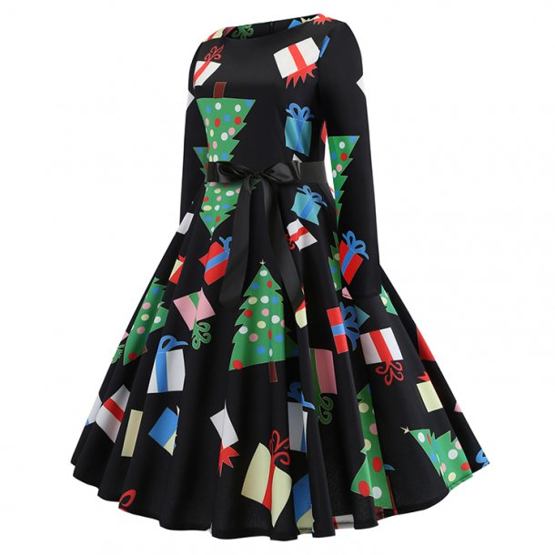 Christmas Tree and Gifts Long Sleeves Round Neckline High Waist Christmas