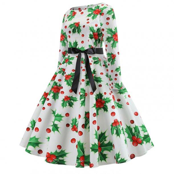 Christmas Holly Pattern Long Sleeves Round Neckline High Waist Christmas Midi Dress