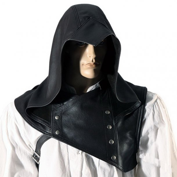 Steampunk PU Hoods Assassin Medieval Knight Cowl Renaissance Cosplay Costume Cloak