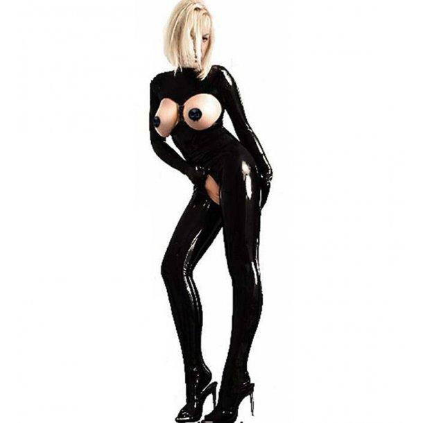 Seductive Black PVC Leather Crotchless Catsuit Clubwear