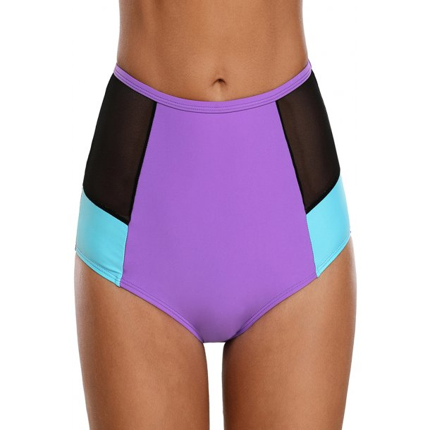 Purple Blue Color Block Mesh Insert Swim Bottom
