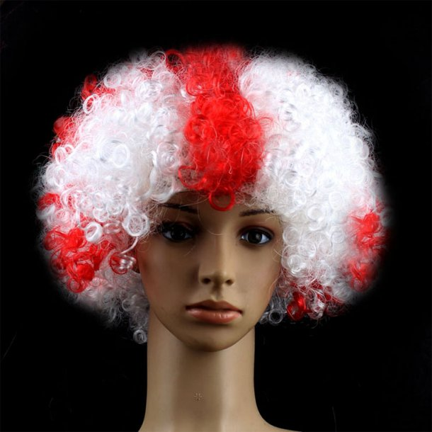 Red And White Natural Curly Hair Flag Clown