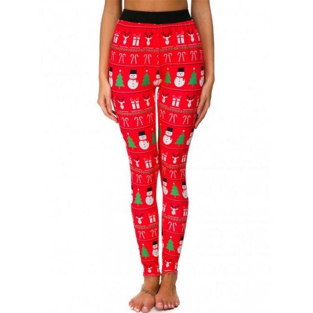 Royal Red Christmas Pattern Leggings