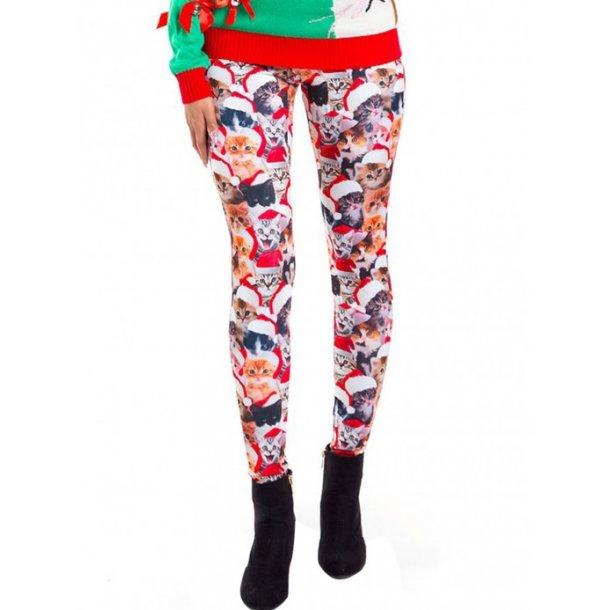Printed Christmas Cat Leggings