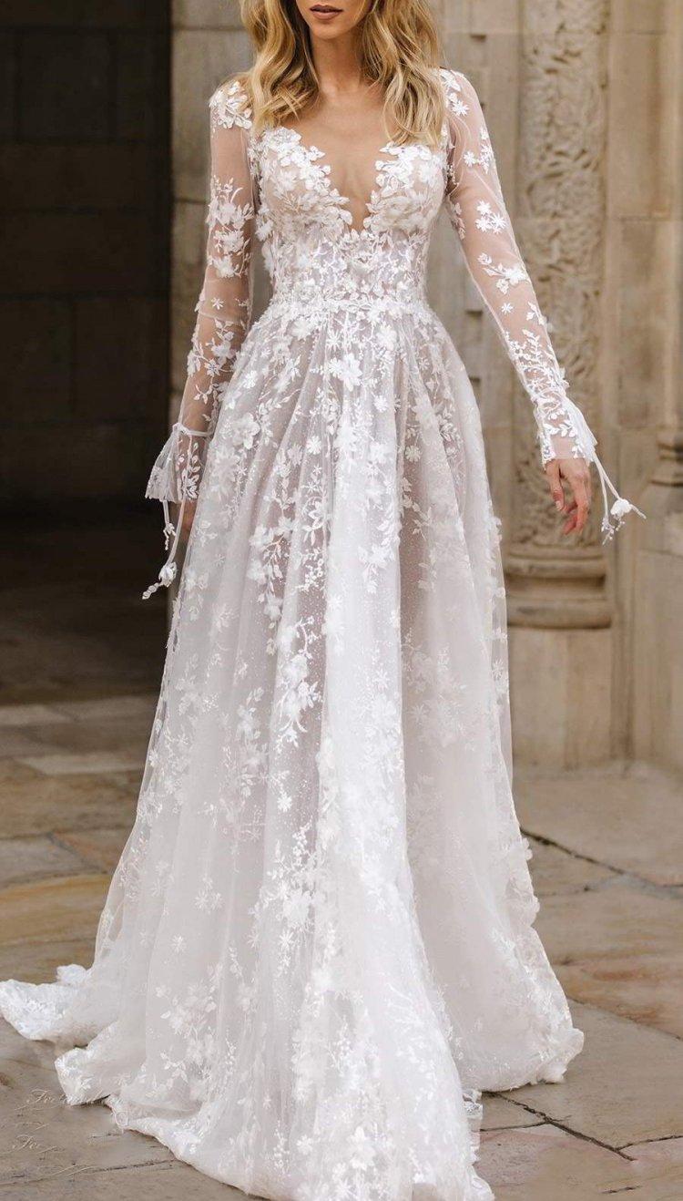 Bryllup Hvid Blonder V-hals Langærmet Brudekjole