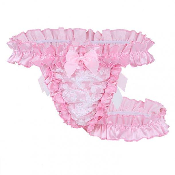 Sexy Ruffle Trim Flirty Elastic Low Waist G-string with Garter Underwear