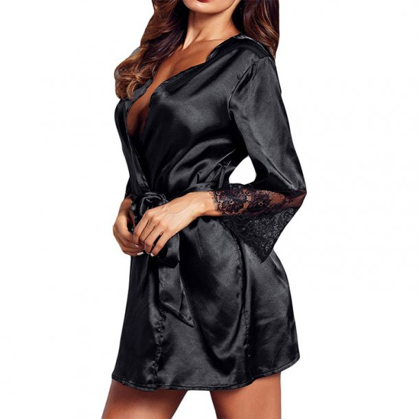 Satin Sheen Sheer Lace Flare Sleeve Thin Nightgown Bathrobe with Belt