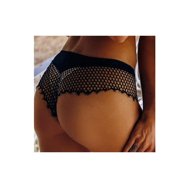 Black Hollow Out Mesh See-through Lace Panty