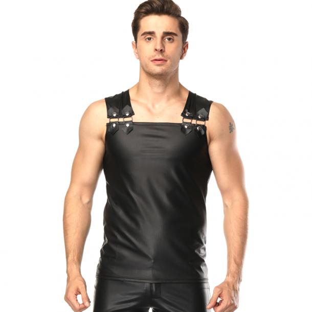 Mens Black Sleeveless Faux Leather Undershirt Vest