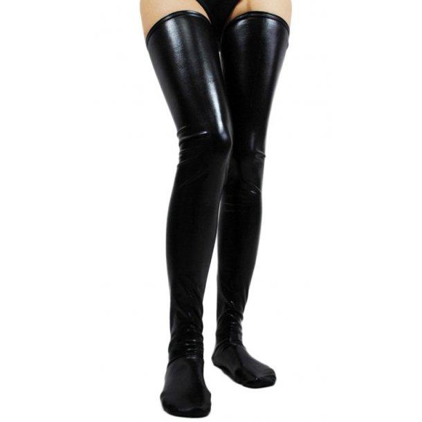 Black Faux Leather WetLook Vinyl Fetish Stockings